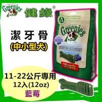 【新品】美國Greenies 健綠潔牙骨 中大型犬11-22公斤專用 /藍莓/ (12oz/12支入)  寵物飼料 牙齒保健磨牙