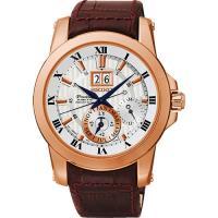 SEIKO PREMIER 羅馬年曆人動電能復古男用腕錶-銀x玫塊金框/7D56-0AB0P(SNP096J1)