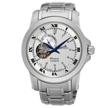 SEIKO Premier 24小時顯示開芯機械錶(SSA275J1)-銀/41mm/4R39-00L0W