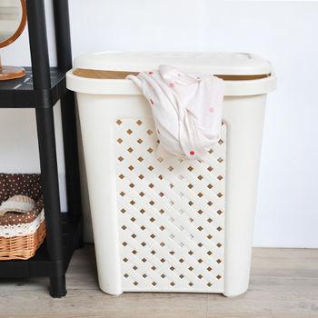 SONA MALL 附蓋洗衣籃-古典藤蔓(57公升)