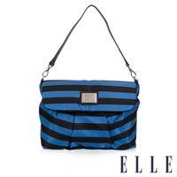 【ELLE】法式優雅海軍風 搭配質感頭層皮時尚淑媛休閒側背包款(藍黑EL83463A-02)
