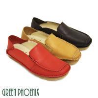 GREEN PHOENIX 素面套入式臘感牛皮平底休閒鞋U8-26302