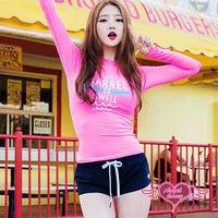 天使霓裳 泳衣 粉紅甜心 兩件式長袖泳裝(桃紅M~XL)-RG16614
