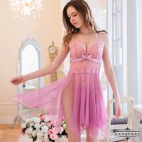 大尺碼Annabery紫藕不規則裙襬二件式睡衣