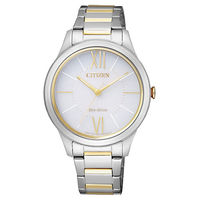 CITIZEN 羅馬戀曲氣質光動能女用腕錶-銀x雙色版/34mm/EM0414-57A