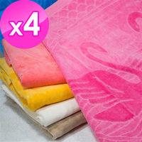 【法式寢飾花季】優雅生活-100%純棉天鵝剪絨緹花枕巾(2入1付)X4件組