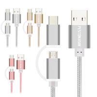 ○PESTON 二合一 Type C  MICRO USB 充電線 傳輸線○適用手機 平板電腦 高質感編織線 鋁合金接頭