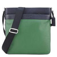 COACH 壓印LOGO雙色皮革扁斜背包(深藍/綠)
