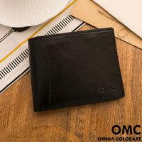 OMC - 韓系原皮魅力真皮款可拆式左右翻11卡1照短夾-黑