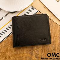 OMC - 韓系原皮魅力真皮款左右翻9卡1照短夾-黑