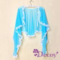 【Decoy】艷夏防曬*蕾絲透膚披肩袖套/藍