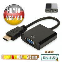 曜兆DIGITUS HDMI A輸入轉VGA(母)螢幕影音線(附聲音輸出).