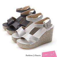 ☆Love Girl☆個性魅力寬面鏤空造型環踝楔型涼鞋