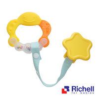 Richell日本利其爾 固齒器-橘黃色有聲音(附固定夾)