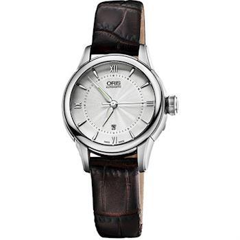 Oris Classic 系列品味時尚機械女錶-銀x咖啡/30mm 0156176874071-0751470FC