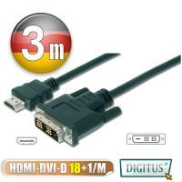 曜兆DIGITUS HDMI轉DVI-I (18+1)互轉線-3公尺(公-公)