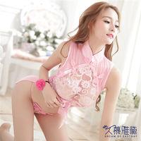 久慕雅黛 古典誘惑開叉透視旗袍角色扮演服 粉紅色