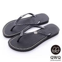 QWQ夾拖的創意(女) - 彩色素面  鞋面施華洛世奇鑽鍊夾腳拖鞋 - 爵士黑