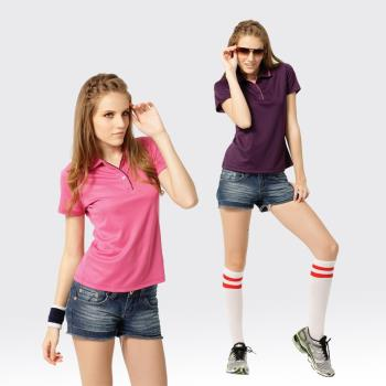 【SAMLIX山力士】女款 MIT 台灣製 吸濕排汗 咖啡紗 短袖 POLO衫#SP206(深紫.粉紅)