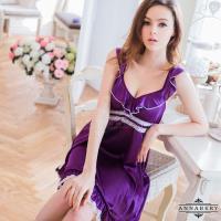 大尺碼Annabery小蓋袖深紫浪漫柔緞二件式睡衣