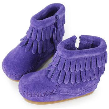 MINNETONKA 紫色雙層流蘇麂皮莫卡辛 嬰兒短靴