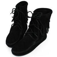 MINNETONKA 黑色麂皮單層流蘇 中筒靴 經典必備-429