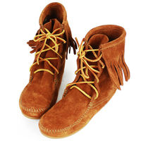 MINNETONKA 咖啡色麂皮單層流蘇 中筒靴 經典必備-422