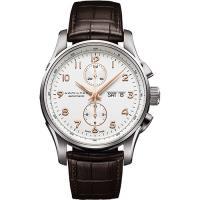 Hamilton JAZZMASTER 時尚達人計時機械腕錶-白x咖啡/42mm H32766513
