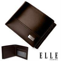 【ELLE HOMME】法式精品短夾 水波紋 雙層 鈔票多層/收納夾名片/證件層設計(咖啡 EL81795-45)