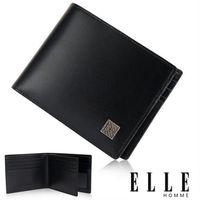 【ELLE HOMME】法式短夾 嚴選義大利皮革、鈔票多層/證件格層設計短夾(黑 EL81806-02)