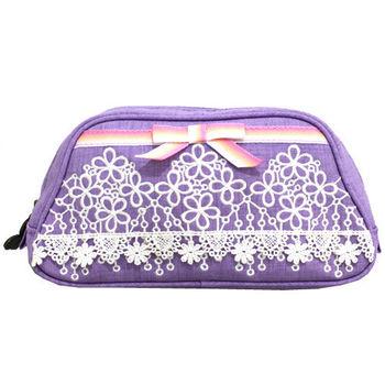 【ANNA SUI】奢華蝴蝶結領刺繡蕾絲化妝包-紫色