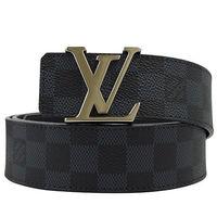 Louis Vuitton LV M9210S 黑棋盤格紋紋路易威登字母飾扣皮帶_現貨