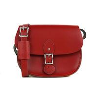 【The Leather Satchel Co.】英國原裝手工牛皮馬鞍包 肩背 側背手拿包 (心機紅)