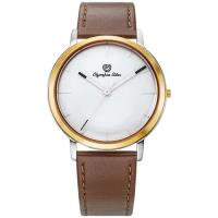Olympia Star 奧林比亞之星-玩色時尚腕錶/40mm- 白面咖啡帶-送皮錶帶 58055MSR