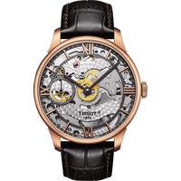 TISSOT T-Classic 羅馬精湛鏤空手動上鍊腕錶-玫瑰金框x咖啡色錶帶-42mm T0994053641800
