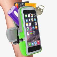 【活力揚邑】防水透氣排汗反光跑步自行車手機觸控雙層運動臂包臂套臂袋-5.7吋以下通用 蘋果綠色