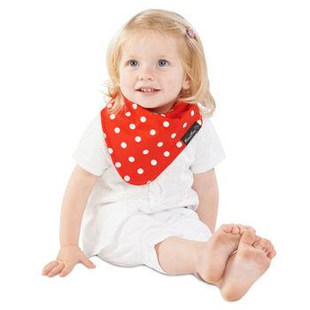 【Mum 2 Mum】雙面時尚造型口水巾圍兜-點點/紅
