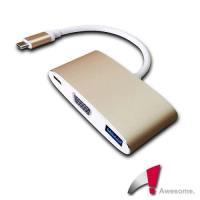 Awesome USB 3.1 TypeC to VGA/TypeC/USB3.0轉接盒-A00250001