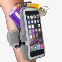 【活力揚邑】防水透氣排汗反光跑步自行車手機觸控雙層運動臂包臂套臂袋-5.7吋以下通用 灰色