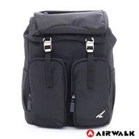 【美國 AIRWALK】大裝備 防潑水尼龍雙扣鬆緊後背包 - 黑