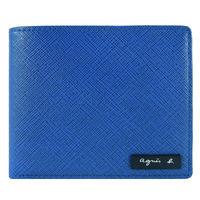 agnes b. VOYAGE 鐵牌雙色防刮短夾(藍黃/零錢袋)