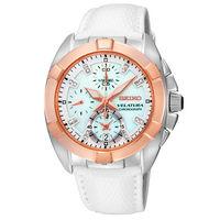 SEIKO 精工 VELATURA 海洋之心 真鑽計時腕錶白x玫瑰金/7T92-0KS0S