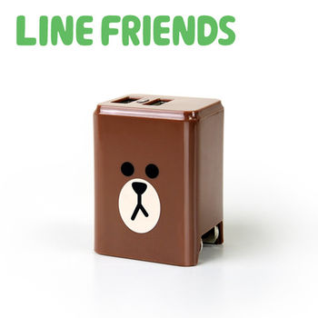 LINE FRIENDS 2.4A 隱藏式雙孔 USB充電器-熊大 (LN-AC240)