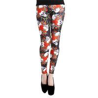 【摩達客】英國進口義大利製Pamela Mann 史嘉莉骷髏花彈性內搭褲打底褲鉛筆褲