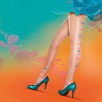 【摩達客】英國進口Pretty Polly浪漫可愛嬉皮彩色花紋透明絲襪彈性褲襪