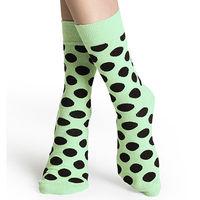 【摩達客】瑞典進口【Happy Socks】淡綠黑圓點中統襪