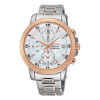 SEIKO Premier 羅馬計時三眼腕錶錶/珍珠貝x雙色版/37mm/7T92-0TG0S(SNDV68J1)
