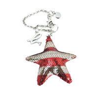 agnes b.立體星星條紋亮片造型吊飾(紅)