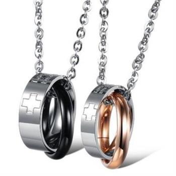 【米蘭精品】鈦鋼項鍊情侶對鍊(一對)精美十字相扣環2色73cl71