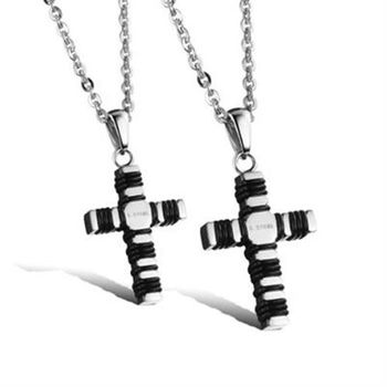 【米蘭精品】鈦鋼項鍊情侶對鍊(一對)時尚個性信仰十字架73cl72